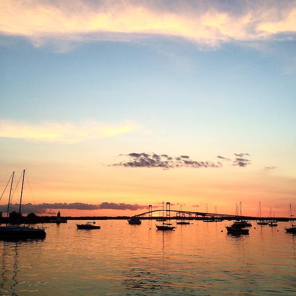 The sunset seen from Storer Park in Newport, Rhode Island on June 6, 2015.