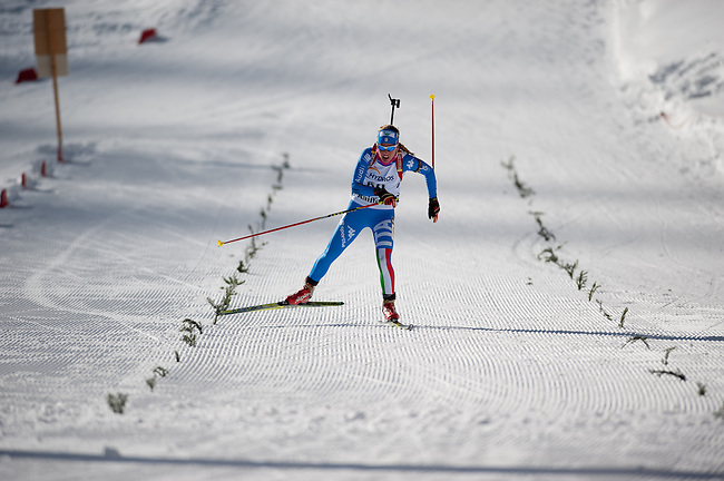 MARTELL-VAL MARTELLO, ITALY - FEBRUARY 03: SANFILIPPO Federica (ITA) finishing at the Women 10 km Pursuit at the IBU Cup Biathlon 6 on February 03, 2013 in Martell-Val Martello, Italy. (Photo by Dirk Markgraf)