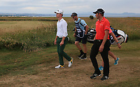 Heading down the 16th is Brandon Stone (RSA) with Dean Burmester (RSA) during the Final Round of the ASI Scottish Open 2018, at Gullane, East Lothian, Scotland.  15/07/2018. Picture: David Lloyd | Golffile.<br /> <br /> Images must display mandatory copyright credit - (Copyright: David Lloyd | Golffile).