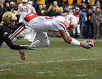 23 November  2007: Nebraska wide receiver, Maurice Purify (16), dives for a touchdown during the Cornhusker's 65-51 loss to the Colorado Buffaloes at Folsom Field, Boulder, Colorado.