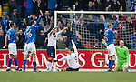 St Johnstone v Rangers...14.01.12  .Nikica Jelavic celebrates as the St Johnstone players appeal for offside.Picture by Graeme Hart..Copyright Perthshire Picture Agency.Tel: 01738 623350  Mobile: 07990 594431