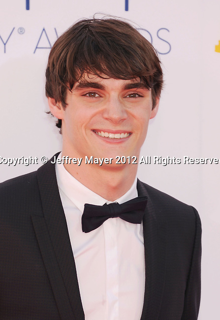 LOS ANGELES, CA - SEPTEMBER 23: RJ Mitte arrives at the 64th Primetime Emmy Awards at Nokia Theatre L.A. Live on September 23, 2012 in Los Angeles, California.