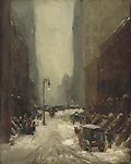 Snow in New York, by Robert Henri, 1902, American painting, oil on canvas. <br /> Brownstone apartments and office buildings during a snow storm on March 5, 1902. Already the snow in the street is becoming
