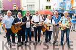 Musicians l-r Ger Brosnan, Jimmy Fleming, Donal Shine, Paddy O'Shea, Teddy Sugrue, Frank Culloty and Peter Fleming pictured at 'Busking for Charity' at the Market Cross Killarney last Monday where all the proceedings from the event will go to MS South Kerry Branch and Killarney Community Services.