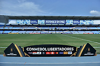 CALI - COLOMBIA, 03-03-2020: Una pancartade Conmebol es vista previo al partido entre América de Cali de Colombia y Gremio de Brasil del grupo E como parte de la Copa CONMEBOL Libertadores 2020 jugado en el estadio Pascual Guerrero de la ciudad de Cali. / Conmebol banner is seen prior a match of the group E as part of Copa CONMEBOL Libertadores 2020 between America de Cali of Colombia and Gremio of Brazil played at Pascual Guerrero stadium in Cali. Photo: VizzorImage / Gabriel Aponte / Staff