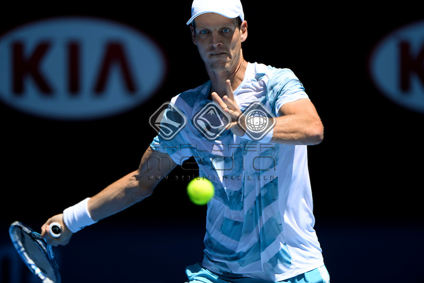 Tomas Berdych (CZE) during her 3rd round match<br /> 2015 Australian Open Tennis / Day 5<br /> Grand Slam of Asia Pacific<br /> Melbourne Park, Vic Australia<br /> Friday 23 January 2015<br /> &copy; Sport the library / Jeff Crow