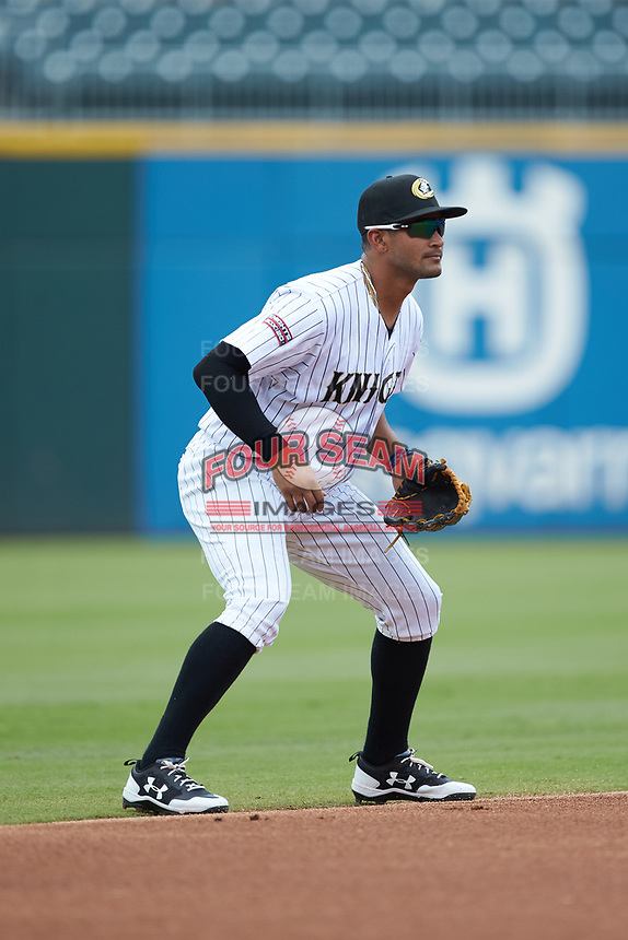 Charlotte Knights shortstop Jose Rondon (6) on defense against the Indianapolis Indians at BB&T BallPark on August 22, 2018 in Charlotte, North Carolina.  The Indians defeated the Knights 6-4 in 11 innings.  (Brian Westerholt/Four Seam Images)