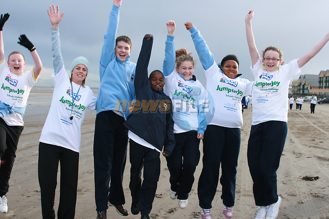 Thomas, Ínoin Ross, Daniel, Kudzi, Chloe, Sandra and Aoife at the Coláiste na hInse, Jump for Joy Fun Run in aid of Crumlin Childrens Hospital...Photo NEWSFILE/Jenny Matthews.(Photo credit should read Jenny Matthews/NEWSFILE)....This Picture has been sent you under the condtions enclosed by:.Newsfile Ltd..The Studio,.Millmount Abbey,.Drogheda,.Co Meath..Ireland..Tel: +353(0)41-9871240.Fax: +353(0)41-9871260.GSM: +353(0)86-2500958.email: pictures@newsfile.ie.www.newsfile.ie.FTP: 193.120.102.198.