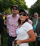 Former Governor of Alaska Sarah Palin and her husband Todd watch First Dude make his way to the track prior to running third in the 142nd  Belmont Stakes Day  at Belmont Park Racetrack, Elmont, New York.