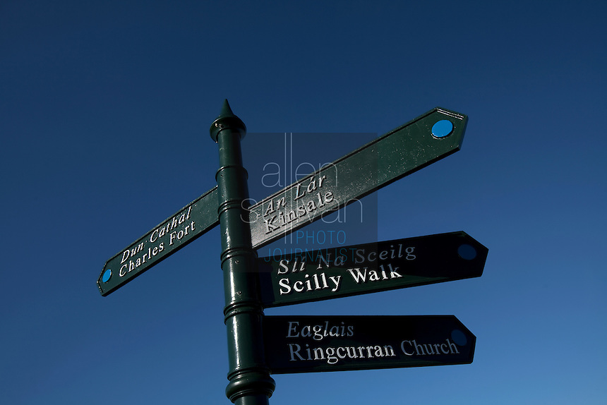 Direction signs near Kinsale, Ireland.