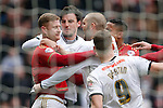 Forest's Matt Mills scuffles with George Thorne of Derby during the Skybet Championship match at the iPro Stadium. Photo credit should read: Philip Oldham/Sportimage