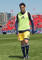 April 27, 2013: New York Red Bulls forward Fabian Espindola #9 in action during the warm-up in a game between Toronto FC and the New York Red Bulls at BMO Field  in Toronto, Ontario Canada..The New York Red Bulls won 2-1.
