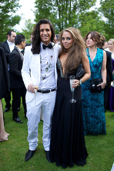 Ollie Lock and Chloe Green in Herve Leger at Elton John's White Tie and Tiara Ball