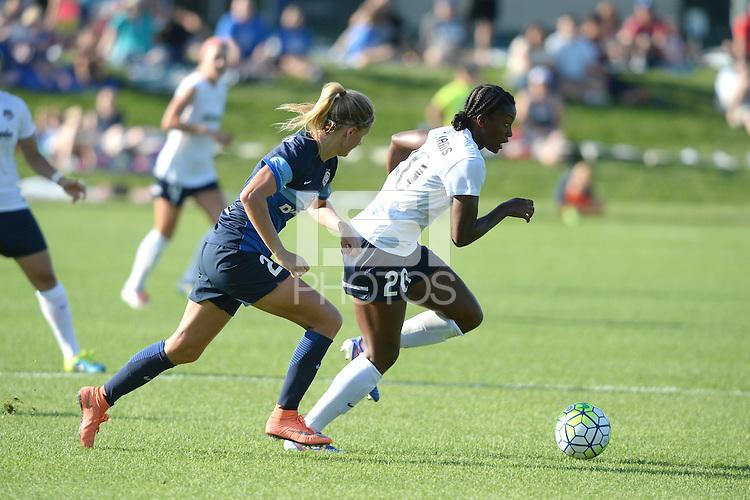 Kansas City, MO - Saturday July 16, 2016: Katie Bowen, Cheyna Williams during a regular season National Women's Soccer League (NWSL) match between FC Kansas City and the Washington Spirit at Swope Soccer Village.