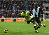 9th November 2019; St James Park, Newcastle, Tyne and Wear, England; English Premier League Football, Newcastle United versus AFC Bournemouth; Adam Smith of AFC Bournemouth is tackled by Jetro Willems of Newcastle United - Strictly Editorial Use Only. No use with unauthorized audio, video, data, fixture lists, club/league logos or 'live' services. Online in-match use limited to 120 images, no video emulation. No use in betting, games or single club/league/player publications