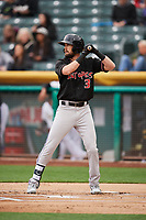 David Dahl (3) of the Albuquerque Isotopes bats against the Salt Lake Bees at Smith's Ballpark on April 5, 2018 in Salt Lake City, Utah. Salt Lake defeated Albuquerque 9-3. (Stephen Smith/Four Seam Images)
