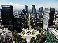 View area of Monument to the Independence of Mexico. The Angel or The Angel of Independence. Sculpture located in the roundabout of Paseo de la Reforma in Mexico City. high angle view.<br /> (Photo: Luis Gutierrez / NortePhoto.com).<br /> <br /> Vista area de Monumento a la Independencia de Mexico. El &Aacute;ngel o El &Aacute;ngel de la Independencia. Escultura ubicada en la glorieta del paseo de la Reforma en la Ciudad de M&eacute;xico. <br /> (Foto: Luis Gutierrez / NortePhoto.com).