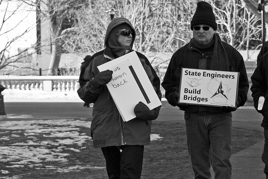 A group of images depicting the scene outside the capital building of Wisconsin as anger among working people grew against Governor Scott Walker's anti-union actions. Angry response by the regular people of Wisconsin to Governor Scott Walker's union busting and austerity policies.