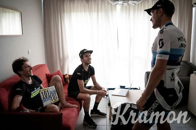 European Champion Matteo Trentin (ITA/Mitchelton-Scott) wins stage 17, the 4th stage win by his Mitchelton-Scott team & is celebrated as he returns to the team hotel. Here checking in with the Yates brothers on his return.<br /> <br /> Stage 17: Pont du Gard to Gap(206km)<br /> 106th Tour de France 2019 (2.UWT)<br /> <br /> ©kramon