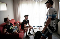 European Champion Matteo Trentin (ITA/Mitchelton-Scott) wins stage 17, the 4th stage win by his Mitchelton-Scott team & is celebrated as he returns to the team hotel. Here checking in with the Yates brothers on his return.<br /> <br /> Stage 17: Pont du Gard to Gap (206km)<br /> 106th Tour de France 2019 (2.UWT)<br /> <br /> ©kramon