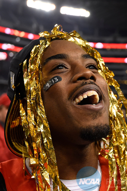12 JAN 2015:  Corey Smith (84) of the Ohio State University celebrates after defeating the University of Oregon during the College Football Playoff National Championship held at AT&T Stadium in Arlington, TX.  Ohio State defeated Oregon 42-20 for the national title.  Jamie Schwaberow/NCAA Photos