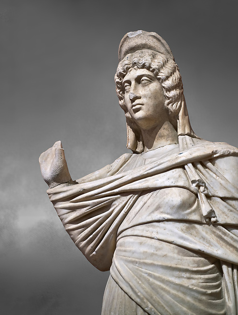 Roman statue of Julia Domina . Marble. Perge. 2nd century AD. Inv no 3268. Antalya Archaeology Museum; Turkey.  Against a grey background