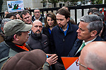 Javier Galan leader of the trade union section of CC.OO. In Navantia Ferrol, Pablo Iglesias of Podemos and Francisco Javier Cano Leal of Ciudadanos accompanies the workers of the company Navantia, during the protest in the headquarters of the Sepi in Madrid, Spain. March 14, 2017. (ALTERPHOTOS / Rodrigo Jimenez)