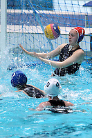 PICTURE BY ALEX WHITEHEAD/SWPIX.COM - Water Polo - Water Polo National Age Group Championships 2013 - Manchester Aquatics Centre, Manchester, England - 28/04/13 - Manchester (white) v Liverpool (blue) in the Youth Girls final, Manchester score.