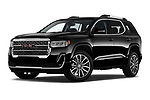 Stock pictures of low aggressive front three quarter view of 2020 GMC Acadia Denali 5 Door SUV Low Aggressive
