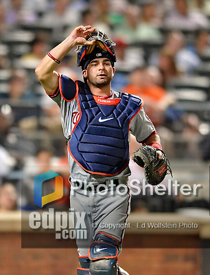24 July 2012: Washington Nationals catcher Jesus Flores in action against the New York Mets at Citi Field in Flushing, NY. The Nationals defeated the Mets 5-2 to take the second game of their 3-game series. Mandatory Credit: Ed Wolfstein Photo