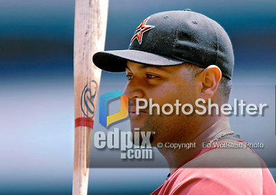 18 July 2007: Houston Astros outfielder Carlos Lee awaits his turn in the batting cage prior to a game against the Washington Nationals at RFK Stadium in Washington, DC. The Nationals defeated the Astros 7-6 in the final game of their 3-game series...Mandatory Photo Credit: Ed Wolfstein Photo