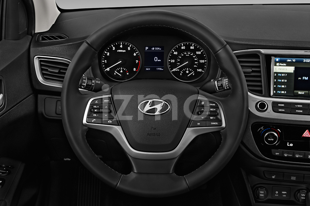 Car pictures of steering wheel view of a 2018 Hyundai Accent Limited 4 Door Sedan