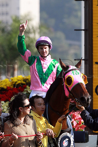 14.12.2014, Hong Kong, China.  Aerovelocity with Zac Purton up after winning the Hong Kong Sprint. Sha Tin racecourse.
