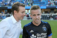 San Jose, CA - Saturday July 29, 2017: Chris Leitch, Tommy Thompson after a Major League Soccer (MLS) match between the San Jose Earthquakes and Colorado Rapids at Avaya Stadium.