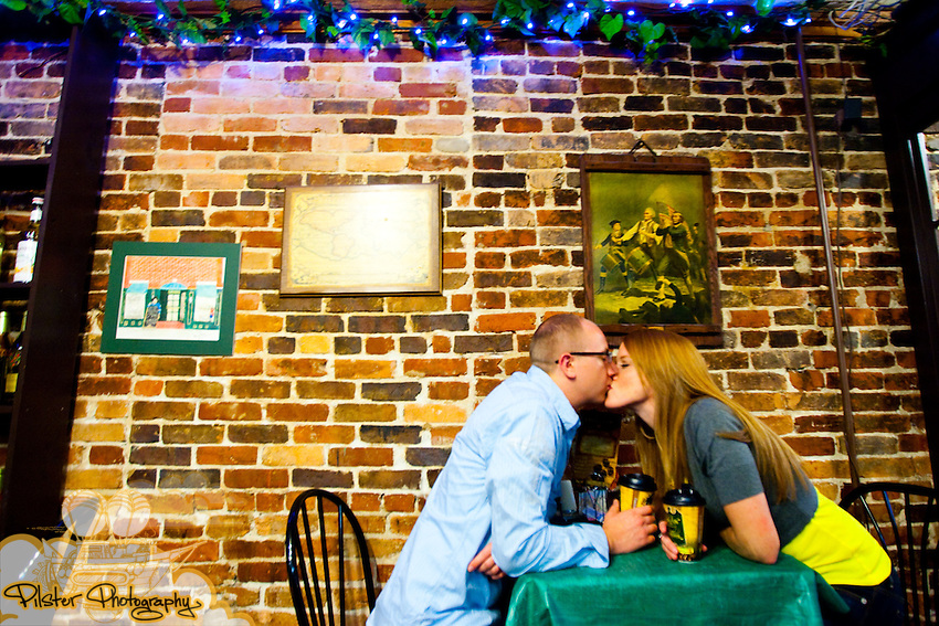 Paul Chaplin and Stacy Hopp do their e-session on Saturday, February 27, 2010, in downtown DeLand, Florida.  They started at Boston Coffee, went to the Mainstreet Grille, then to Caffe Da Vinci, Norville Barnes, Athens Theater, and then to Stetson University as they ventured all over the downtown area on a rainy and cold day. Their wedding is June 4, 2010 in St. Pete Beach. (Chad Pilster, http://www.PilsterPhotography.com for the Department of Labor)