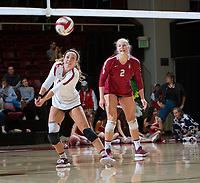 STANFORD, CA - November 3, 2018: Morgan Hentz, Kathryn Plummer at Maples Pavilion. No. 1 Stanford Cardinal defeated No. 15 Colorado Buffaloes 3-2.