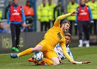 Preston North End's Tom Barkhuizen vies for possession with Huddersfield Town's Elias Kachunga<br /> <br /> Photographer Alex Dodd/CameraSport<br /> <br /> The EFL Sky Bet Championship - Huddersfield Town v Preston North End - Friday 14th April 2016 - The John Smith's Stadium - Huddersfield<br /> <br /> World Copyright &copy; 2017 CameraSport. All rights reserved. 43 Linden Ave. Countesthorpe. Leicester. England. LE8 5PG - Tel: +44 (0) 116 277 4147 - admin@camerasport.com - www.camerasport.com
