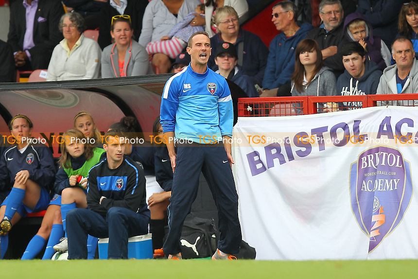 Bristol Academy manager Mark Sampson reacts after his side are denied a penalty - Arsenal Ladies vs Bristol Academy Women - FA Womens Super League Football at Boreham Wood FC - 08/09/13 - MANDATORY CREDIT: Gavin Ellis/TGSPHOTO - Self billing applies where appropriate - 0845 094 6026 - contact@tgsphoto.co.uk - NO UNPAID USE