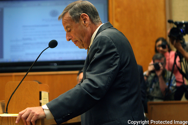 San Diego, California mayor Bob Filner announces his mayoral resignation to the city council July 26, 2013. He had become embroiled in a series of allegations of sexual improprieties. photo for Getty Images