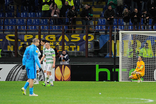 26.02.2015. Milan, Italy.  Craig Gordon of Celtic FC  after the goal from Fredy Guarin  during the Europa League soccer match between Inter Milan and Celtic FC at San Siro Stadium in Milan, Italy.