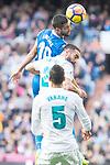 Real Madrid Daniel Carvajal and Raphael Varane and R.C. Deportivo Florin Andone during La Liga match between Real Madrid and R. C. Deportivo at Santiago Bernabeu Stadium in Madrid, Spain. January 18, 2018. (ALTERPHOTOS/Borja B.Hojas)