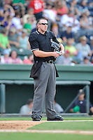Home plate umpire Jacob Metz works a game between the Charleston RiverDogs and the Greenville Drive on Sunday, August 16, 2015, at Fluor Field at the West End in Greenville, South Carolina. Charleston won 6-2 (Tom Priddy/Four Seam Images)
