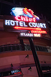 Chief Hotel Court sign, Neon from the Neon Museum near Fremont Street at night, Las Vegas