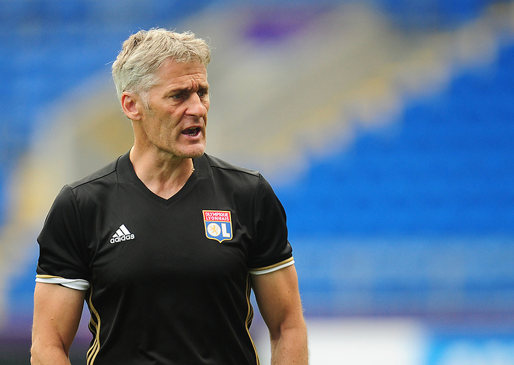 Olympique Lyonnais' manager Gerard Precheur<br /> <br /> Photographer Kevin Barnes/CameraSport<br /> <br /> UEFA Women's Champions League Final - Pre match training session - Lyon Women v Paris Saint-Germain Women - Wednesday 31st May 2017 - Cardiff City Stadium<br />  <br /> World Copyright &copy; 2017 CameraSport. All rights reserved. 43 Linden Ave. Countesthorpe. Leicester. England. LE8 5PG - Tel: +44 (0) 116 277 4147 - admin@camerasport.com - www.camerasport.com