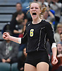 Grace Riddle #6 of Wantagh reacts as her team closes in on a 3-2 win over Kings Park in the girls volleyball Class A Long Island Championship at Farmingdale State College on Sunday, Nov. 11, 2018. The Warriors rallied from an 0-2 set deficit to win.