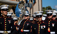DEL MAR, CA - NOVEMBER 04: The Navy marching band prepares to play the National Anthem during the Opening Ceremonies on Day 2 of the 2017 Breeders' Cup World Championships at Del Mar Racing Club on November 4, 2017 in Del Mar, California. (Photo by Kyle Grantham/Eclipse Sportswire/Breeders Cup)