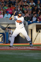 Alexis Olmeda (24) of the Hillsboro Hops at bat during a game against the Tri-City Dust Devils at Ron Tonkin Field in Hillsboro, Oregon on August 24, 2015.  Tri-City defeated Hillsboro 5-1. (Ronnie Allen/Four Seam Images)