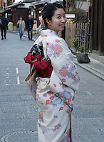 woman in traditional kimono, Kyoto, Japan