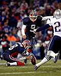 18 November 2007: Buffalo Bills kicker Rian Lindell (9) kicks a 52-yard field goal against the New England Patriots at Ralph Wilson Stadium in Orchard Park, NY. The Patriots defeated the Bills 56-10 in their second meeting of the season...Mandatory Photo Credit: Ed Wolfstein Photo