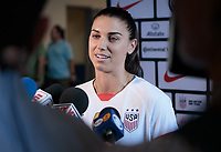 PASADENA, CA - Friday August 02, 2019: Alex Morgan of the U.S. Women's national team addresses the press prior to their Victory Tour game versus Ireland at the Rose Bowl in Pasadena California.
